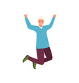 young beautiful man in fashionable clothes jumping vector image vector image