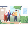young man giving a bag products to elderly vector image