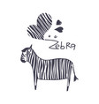 zebra with black strip vector image