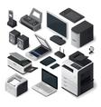 Isometric office equipment set vector image