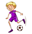 A soccer player with a violet uniform vector image vector image