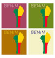 benin map with flag vector image vector image