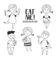 black-and-white set boys and girls food vector image