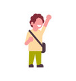 boy backpack raising hand up school children vector image