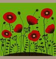 bright green background with red poppies vector image vector image