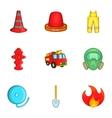 Burning icons set cartoon style vector image