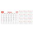 calendar planner 2019 template vector image vector image