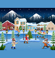 cartoon of happy kid playing in the snowing villag vector image vector image
