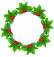 christmas wreath poster with holly berries vector image