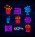 cinema bright neon signs vector image vector image