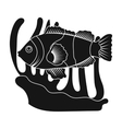 Clownfish and anemone icon in black style isolated vector image