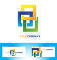 Colored abstract squares logo vector image vector image