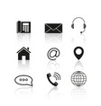 contacts set reflection icons vector image vector image