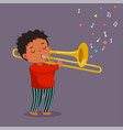cute boy playing trombone on purple background vector image vector image