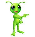 cute cartoon alien pointing vector image vector image