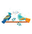 cute colorful bird is singing a love song vector image