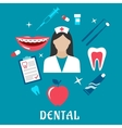 Dental flat concept with dentistry icons vector image vector image