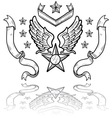 doodle us military insignia airforce vector image vector image