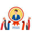 employee month badge with cartoon vector image vector image