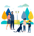 family on holiday in park with a dog in vector image vector image