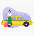 girl with travel bag get a taxi travel and vector image