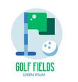 golfing school logo with golf flag icon vector image