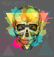 hand drawing hipster skull vector image