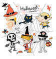 hand drawn halloween trick or treat character cute vector image