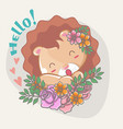 hand drawn happy cute lion with flowers for kids vector image vector image