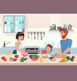 happy young family cooking father mother and vector image