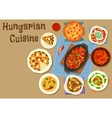 Hungarian cuisine meat dinner dishes icon vector image vector image