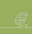 icon euro isolated on green background vector image