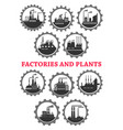 industrial icons of factory industry plants vector image vector image