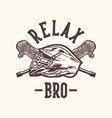 logo design relax bro with lacrosse helm vector image vector image