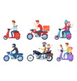 motorcycle driving man rides with woman and kids vector image vector image