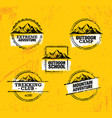 mountain adventures stamps collection vector image vector image