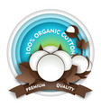 natural organic cotton paper cut emblem vector image vector image