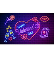 neon valentines day card or poster banner vector image vector image