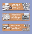 old books set banners vector image vector image