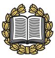 open book and laurel wreath-book emblem vector image vector image