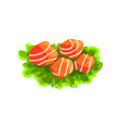 pieces of fresh salmon fish seafood product vector image vector image
