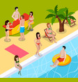 pool rest isometric composition vector image