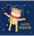 postcard poster cute astronaut tiger in space vector image vector image