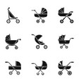 pram stroller icon set simple style vector image
