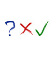 question x-letter check mark icons brush vector image