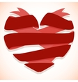 red ribbon banner in shape heart vector image