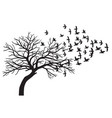 scary bare black tree silhouette and flock vector image vector image