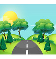 Scene with road and hills vector image