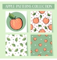 Seamless hand drawn red apple patterns set vector image