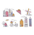 set amsterdam symbols in sketchy style vector image